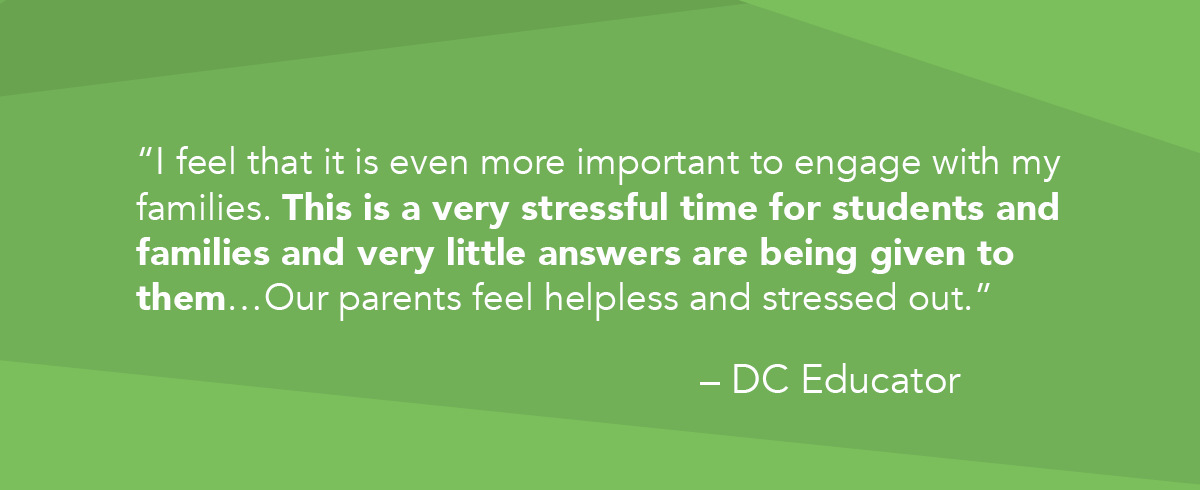 """""""I feel that it is even more important to engage with my families. This is a very stressful time for students and families and very little answers are being given to them…Our parents feel helpless and stressed out."""" quote by DC Educator"""